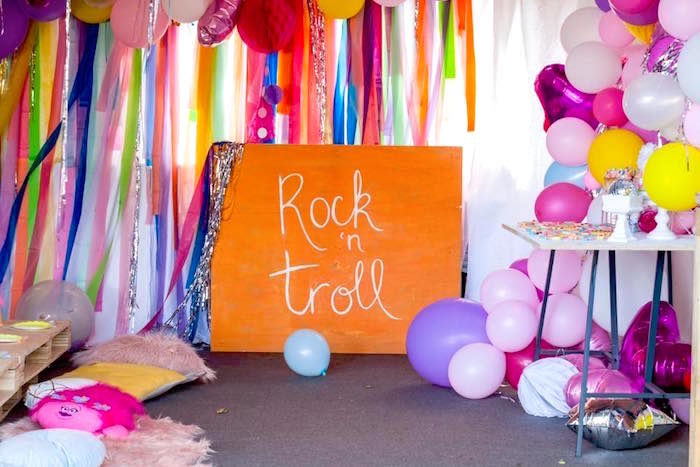 Rock n' Roll Signage from a Rainbow Trolls Disco Birthday Party on Kara's Party Ideas | KarasPartyIdeas.com (19)