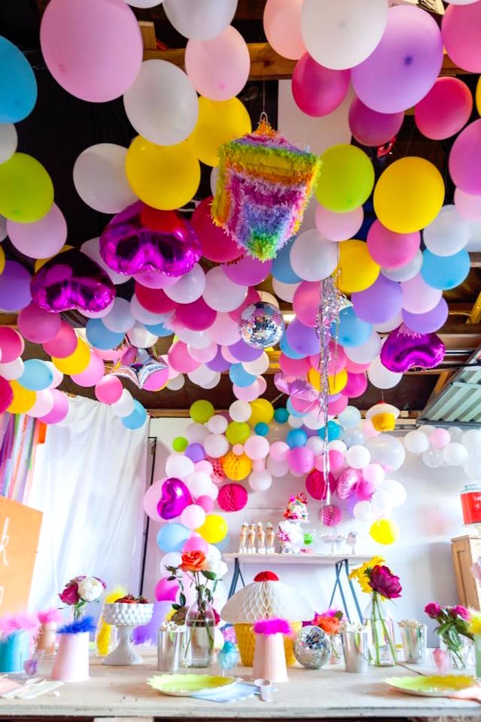 Balloon ceiling from a Rainbow Trolls Disco Birthday Party on Kara's Party Ideas | KarasPartyIdeas.com (18)