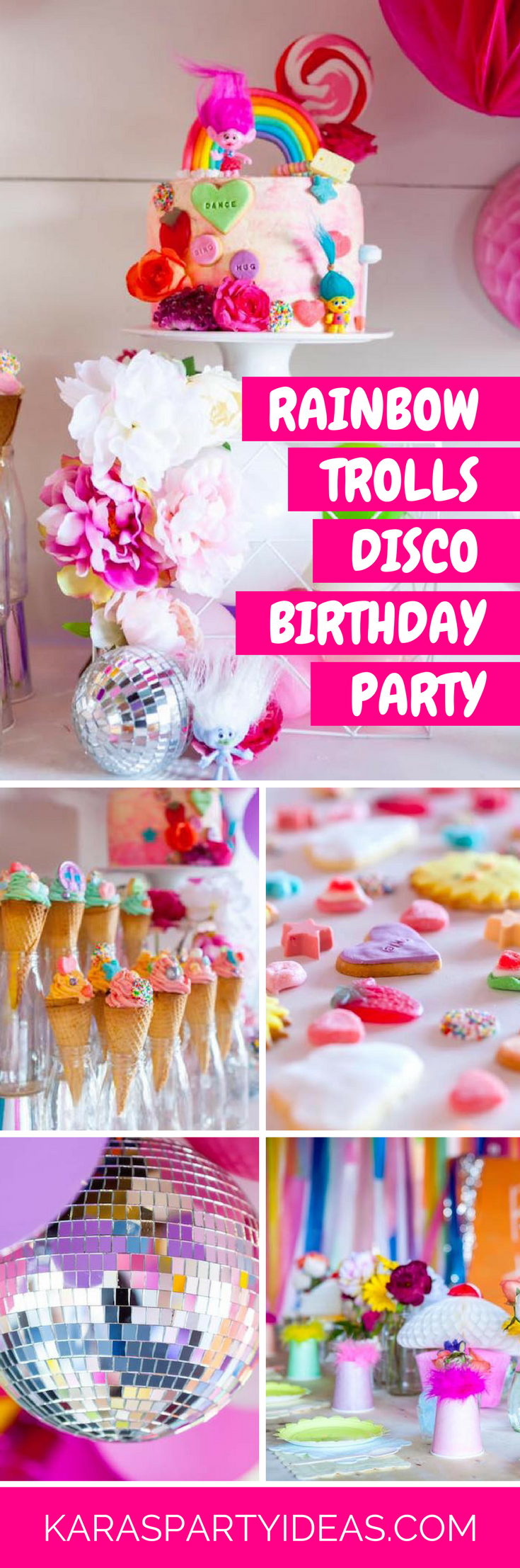 Rainbow Trolls Disco Birthday Party via Kara's Party Ideas - KarasPartyIdeas.com
