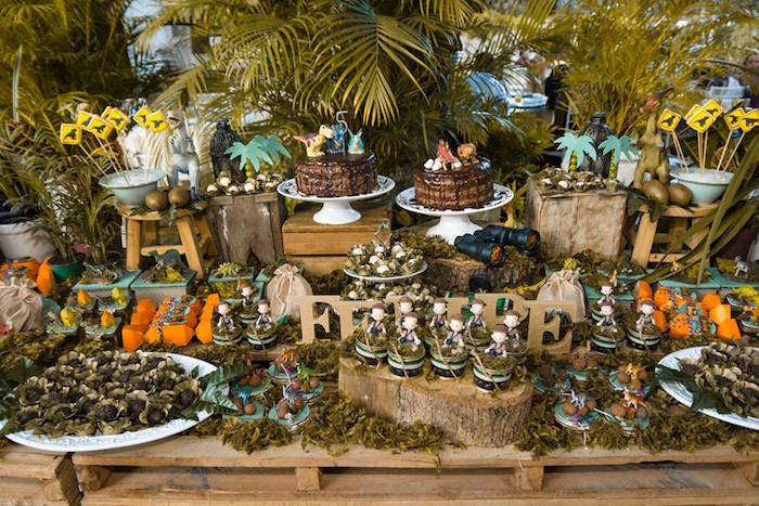 Cake table from a Rustic Dinosaur Birthday Party on Kara's Party Ideas | KarasPartyIdeas.com (25)