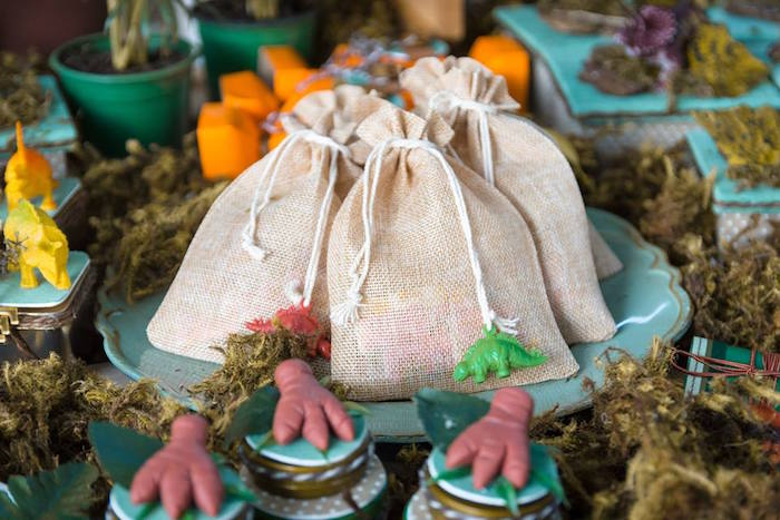Burlap sacks from a Rustic Dinosaur Birthday Party on Kara's Party Ideas | KarasPartyIdeas.com (7)