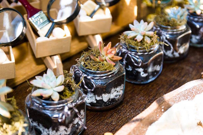 Succulent jars from a Rustic Dinosaur Birthday Party on Kara's Party Ideas | KarasPartyIdeas.com (38)