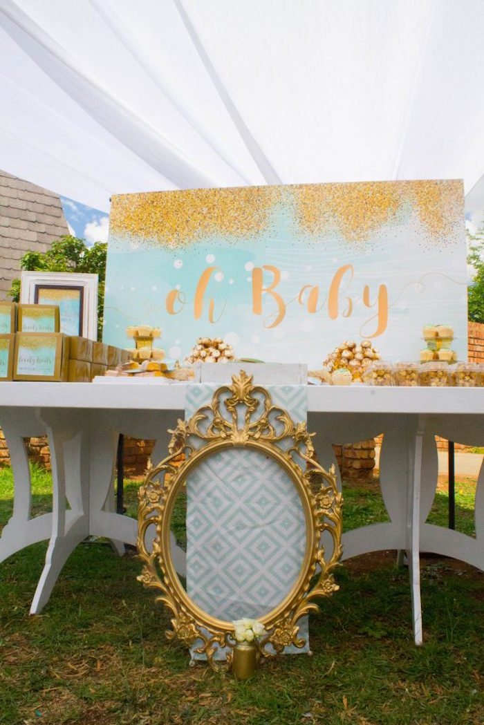 Dessert table from a Rustic Glam Baby Shower on Kara's Party Ideas | KarasPartyIdeas.com (17)