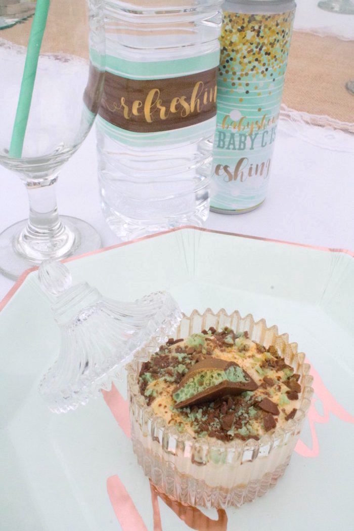 Place setting + dessert cup from a Rustic Glam Baby Shower on Kara's Party Ideas | KarasPartyIdeas.com (16)