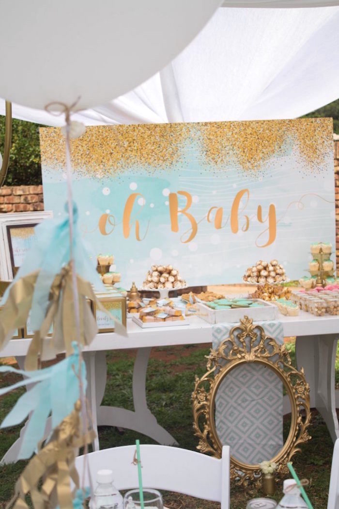 Sweet table from a Rustic Glam Baby Shower on Kara's Party Ideas | KarasPartyIdeas.com (15)