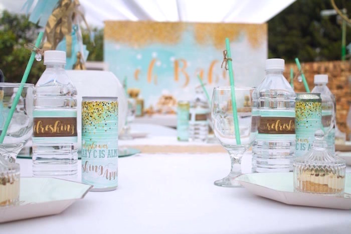 Place settings from a Rustic Glam Baby Shower on Kara's Party Ideas | KarasPartyIdeas.com (14)