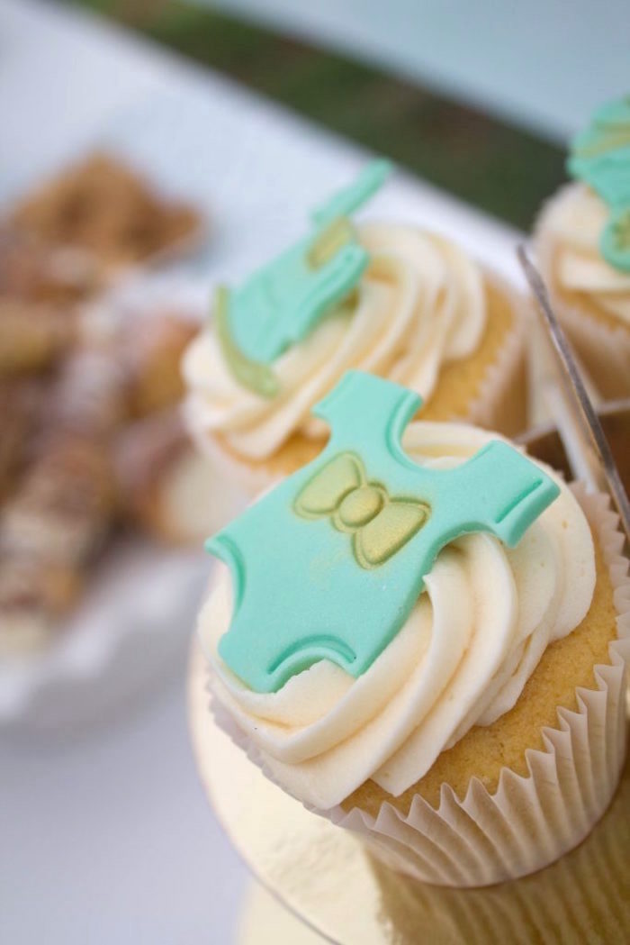 Onesie cupcake from a Rustic Glam Baby Shower on Kara's Party Ideas | KarasPartyIdeas.com (9)