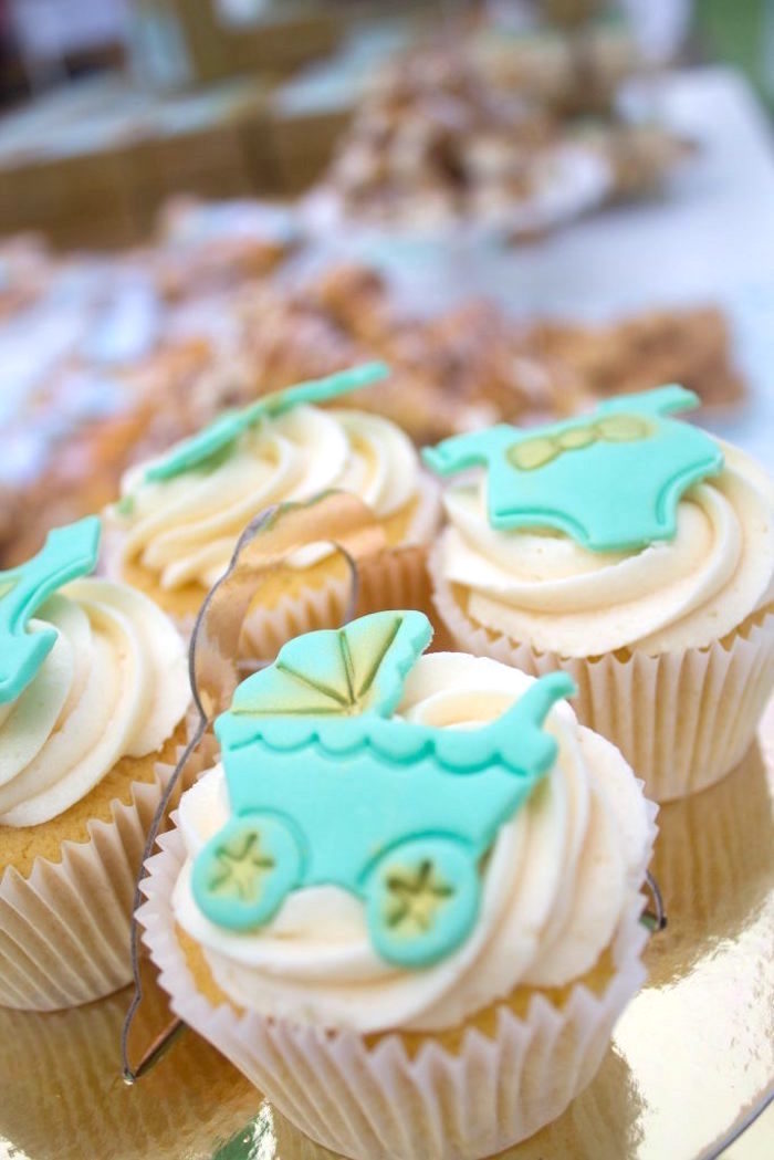 Cupcakes from a Rustic Glam Baby Shower on Kara's Party Ideas | KarasPartyIdeas.com (8)