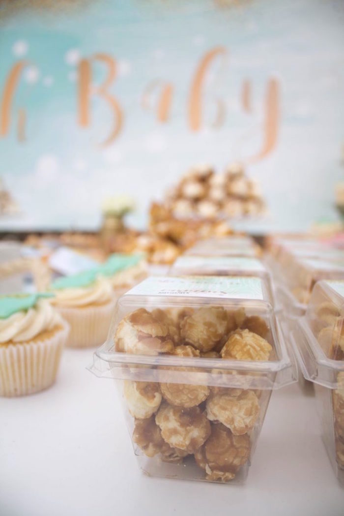 Caramel popcorn favor boxes from a Rustic Glam Baby Shower on Kara's Party Ideas | KarasPartyIdeas.com (25)