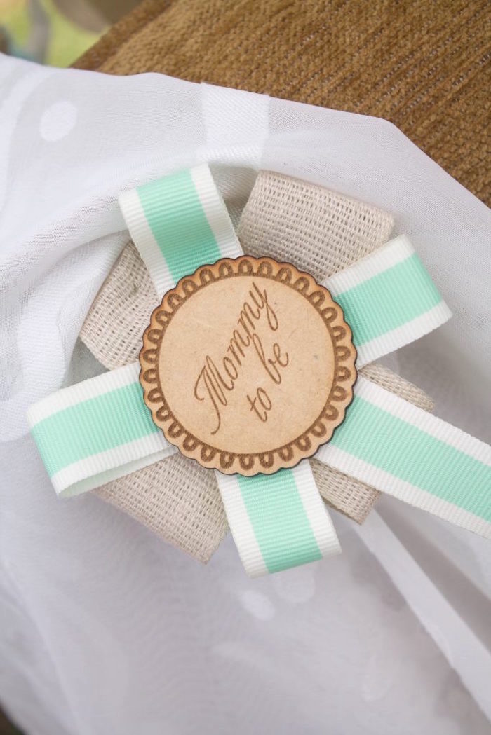 Mommy to be, button pin from a Rustic Glam Baby Shower on Kara's Party Ideas | KarasPartyIdeas.com (22)