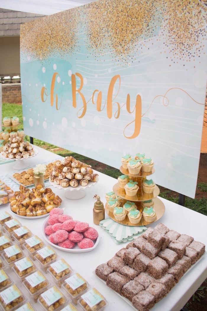 Sweet table from a Rustic Glam Baby Shower on Kara's Party Ideas | KarasPartyIdeas.com (20)