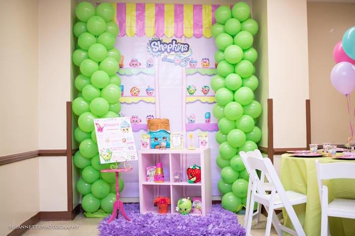 Balloon shop backdrop from a Shopkins Birthday Party on Kara's Party Ideas | KarasPartyIdeas.com (24)