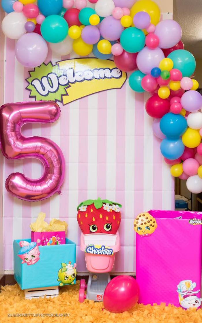 Welcome backdrop from a Shopkins Birthday Party on Kara's Party Ideas | KarasPartyIdeas.com (37)
