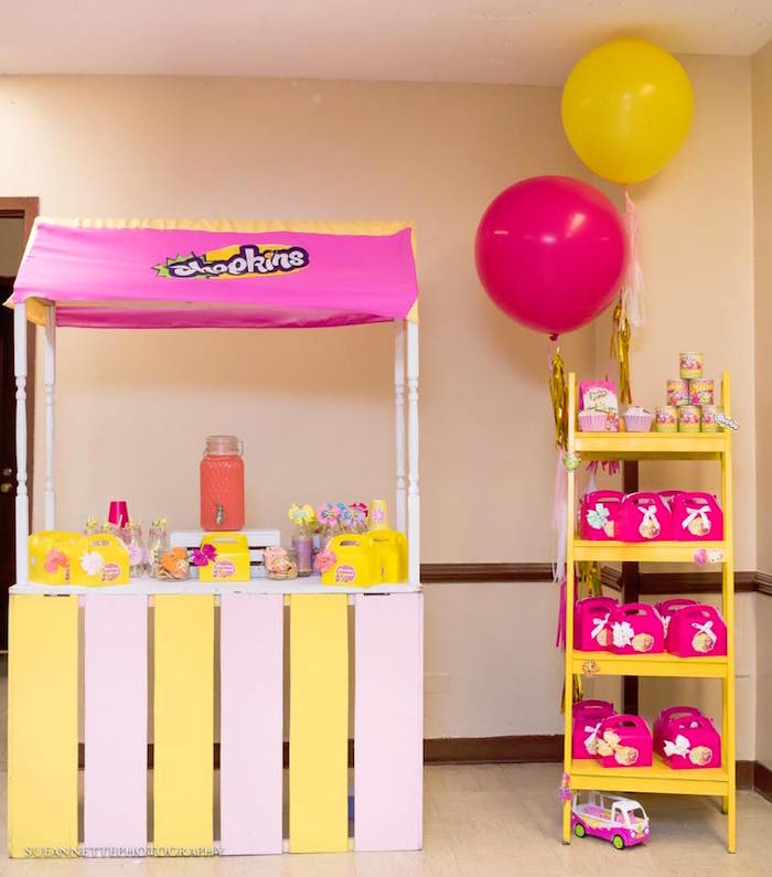 Beverage and favor stands from a Shopkins Birthday Party on Kara's Party Ideas | KarasPartyIdeas.com (30)