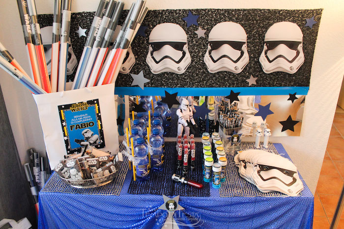 Favor table from a Star Wars Birthday Party on Kara's Party Ideas | KarasPartyIdeas.com (20)