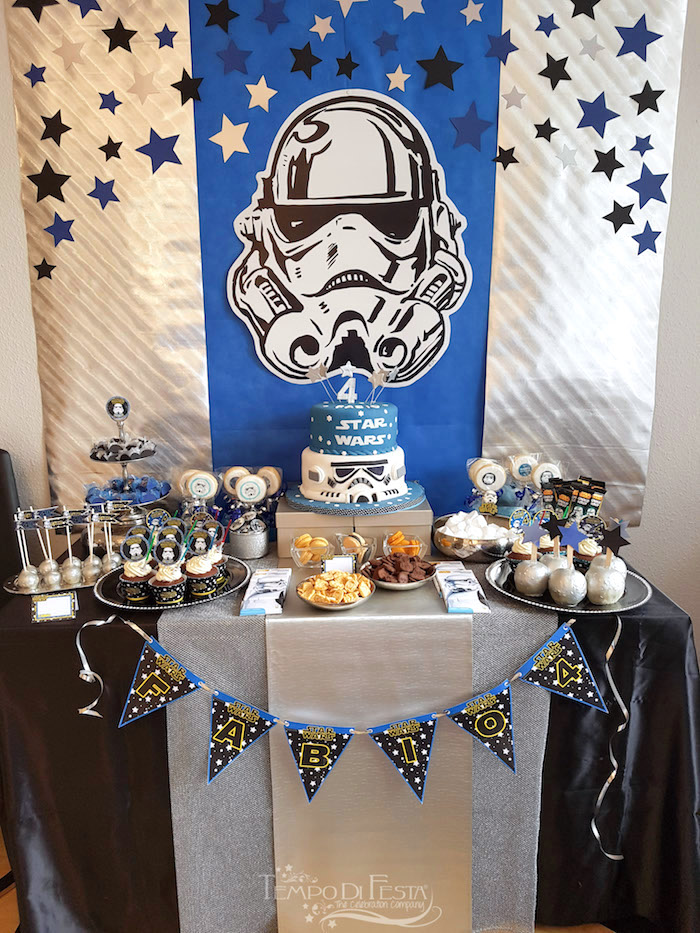 Storm Trooper Sweet Table from a Star Wars Birthday Party on Kara's Party Ideas | KarasPartyIdeas.com (28)