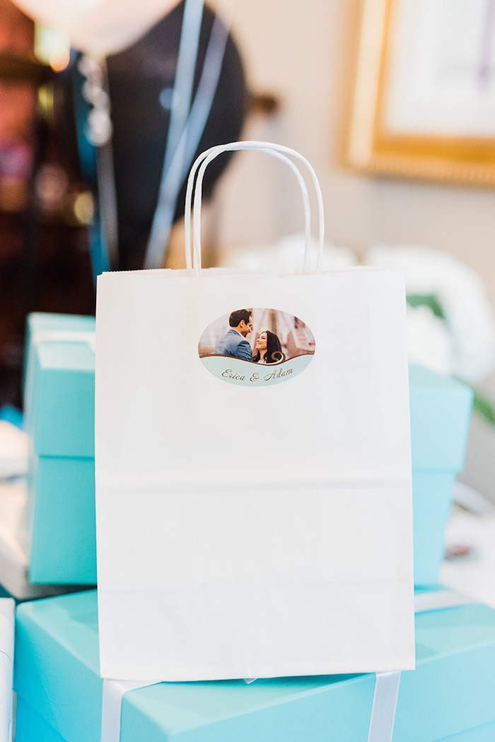 Custom favor bag from a Tiffany & Co. Bridal Shower on Kara's Party Ideas | KarasPartyIdeas.com (26)