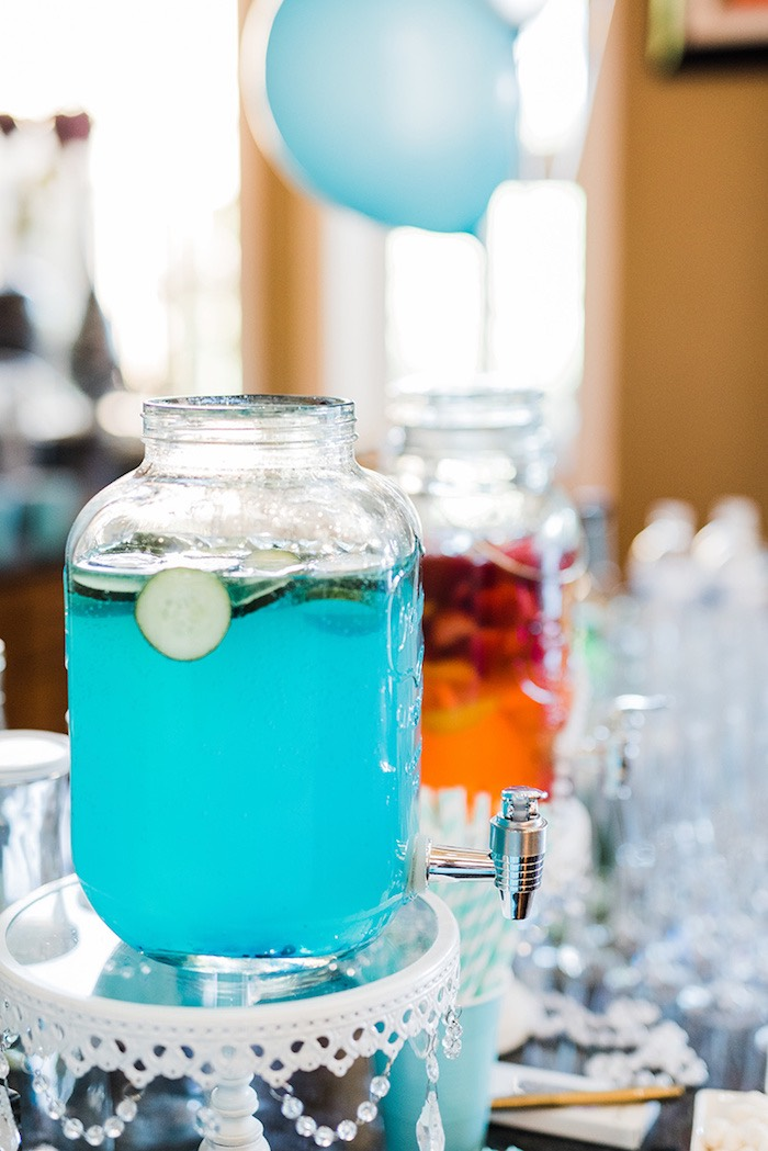 Beverage dispensers from a Tiffany & Co. Bridal Shower on Kara's Party Ideas | KarasPartyIdeas.com (24)