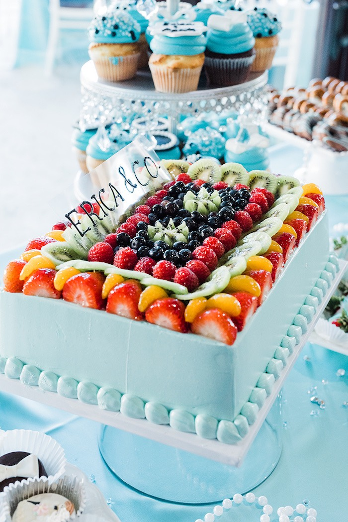 Cake from a Tiffany & Co. Bridal Shower on Kara's Party Ideas | KarasPartyIdeas.com (17)
