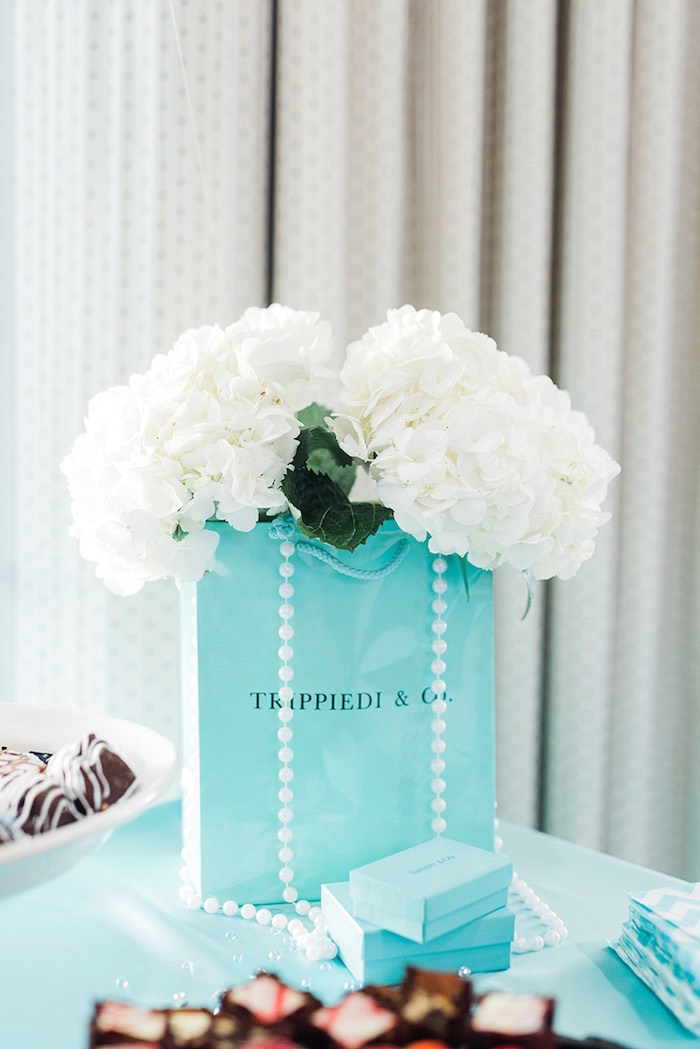 custom blue bag floral arrangement from a tiffany co bridal shower on karas party