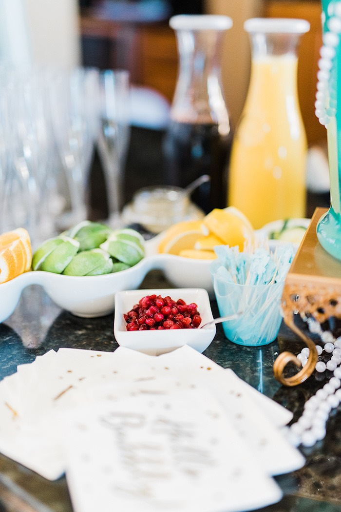 """Marry Me"" Mimosa Bar from a Tiffany & Co. Bridal Shower on Kara's Party Ideas 