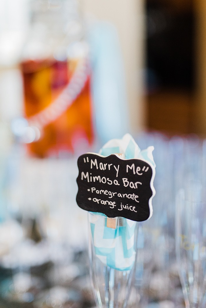 "Chalkboard signage - ""Marry Me"" Mimosa Bar from a Tiffany & Co. Bridal Shower on Kara's Party Ideas 