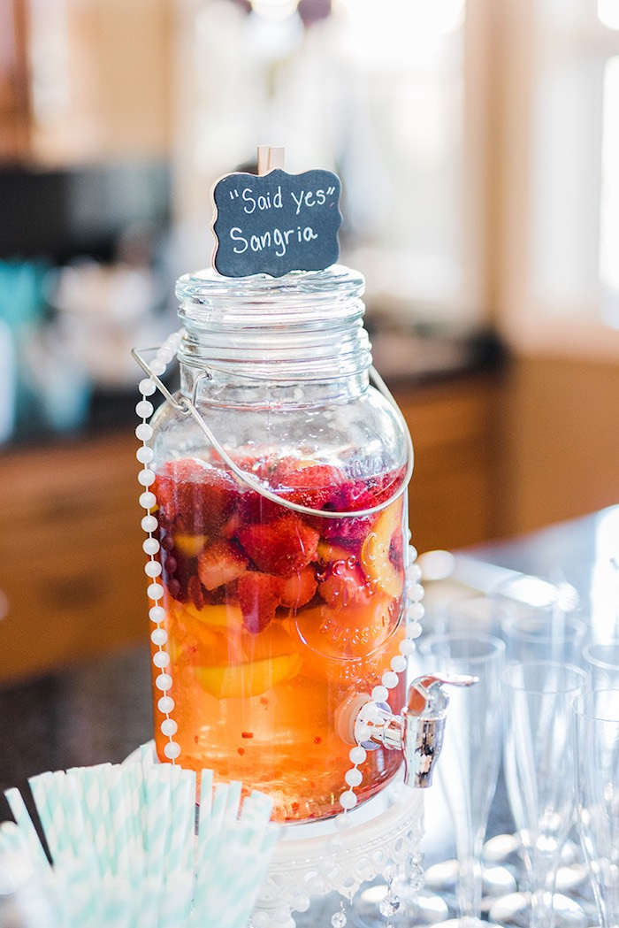 """Said Yes"" Sangria from a Tiffany & Co. Bridal Shower on Kara's Party Ideas 