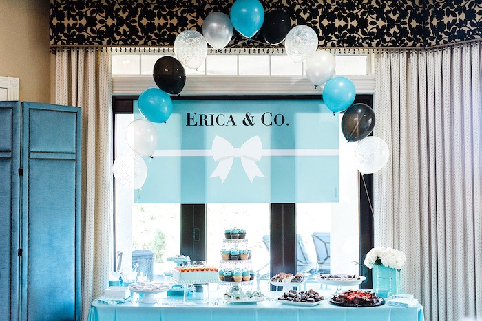 dessert table from a tiffany co bridal shower on karas party ideas karaspartyideas