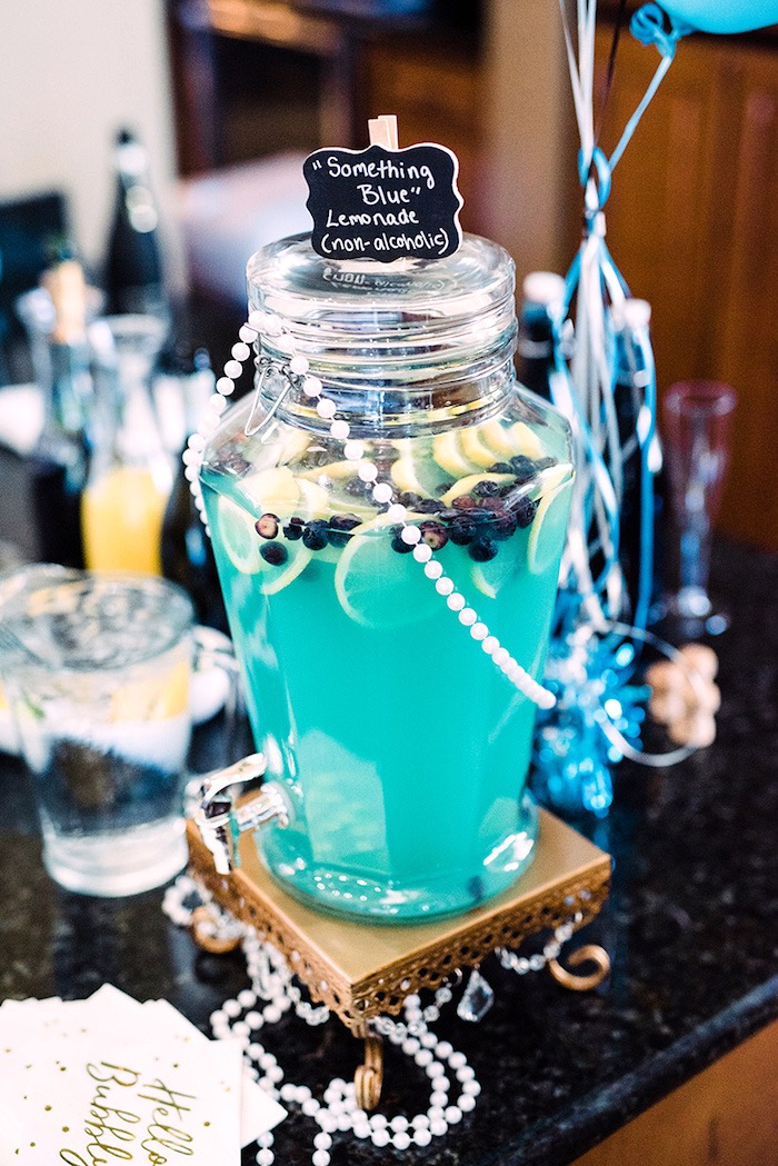 """Something Blue"" Lemonade from a Tiffany & Co. Bridal Shower on Kara's Party Ideas 