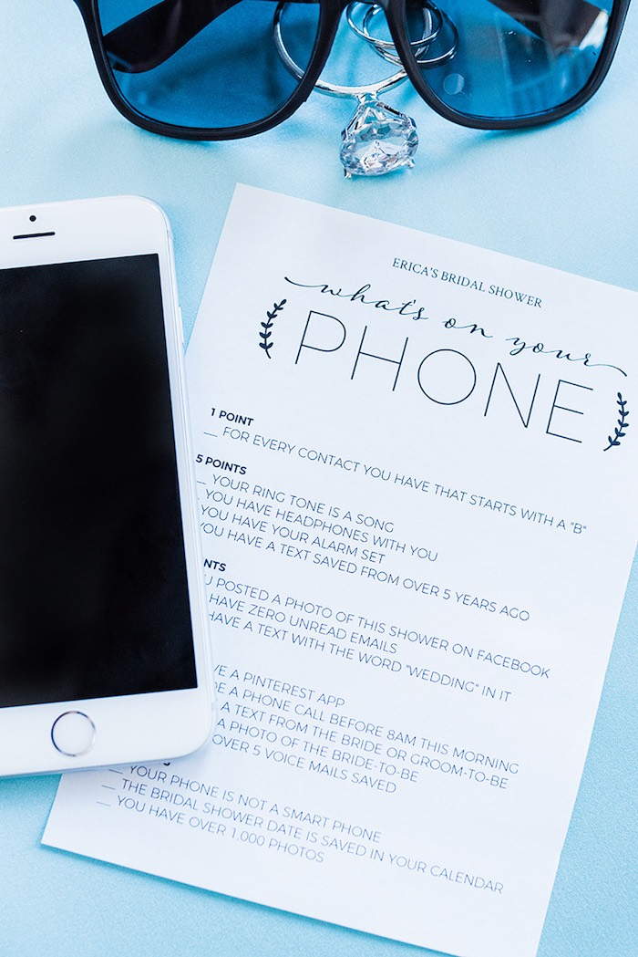 What's on Your Phone Game from a Tiffany & Co. Bridal Shower on Kara's Party Ideas | KarasPartyIdeas.com (4)