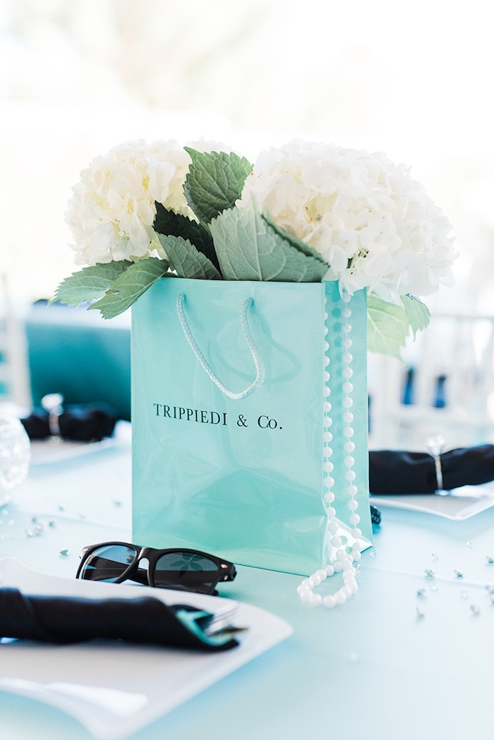 "Custom ""Tiffany"" bag floral centerpiece from a Tiffany & Co. Bridal Shower on Kara's Party Ideas 