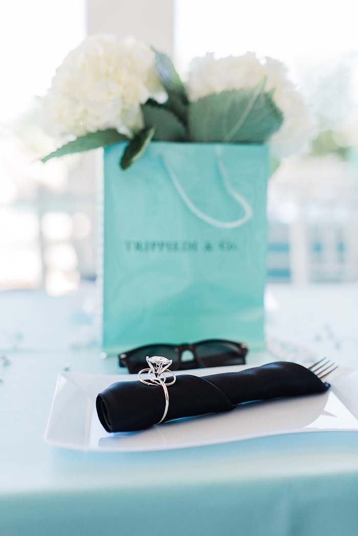 Diamond ring utensil pack from a Tiffany & Co. Bridal Shower on Kara's Party Ideas | KarasPartyIdeas.com (30)