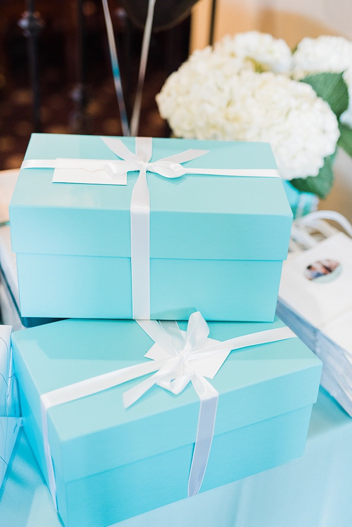 Blue and white gift boxes from a Tiffany & Co. Bridal Shower on Kara's Party Ideas | KarasPartyIdeas.com (29)