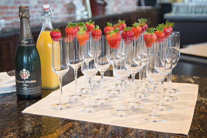 Strawberry topped glasses from an Urban Floral Baby Shower on Kara's Party Ideas | KarasPartyIdeas.com (5)