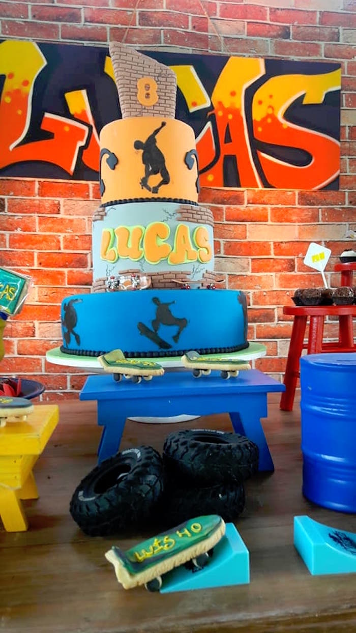 Cakescape from an Urban Graffiti Skateboard Birthday Party on Kara's Party Ideas | KarasPartyIdeas.com (13)