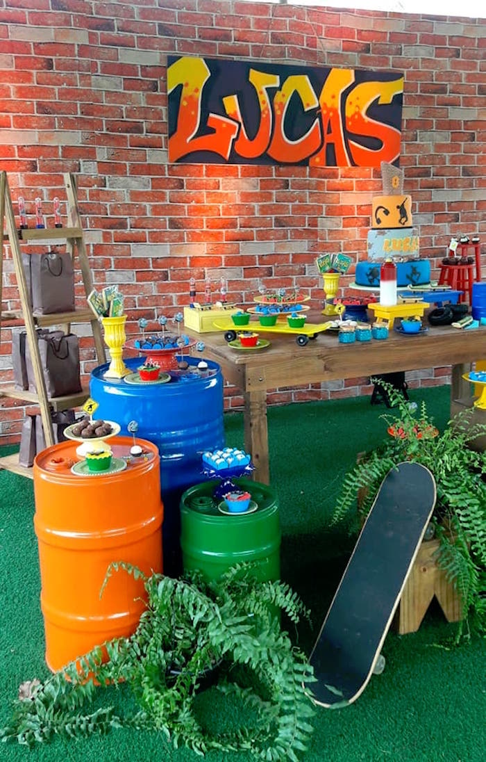 Urban Graffiti Skateboard Birthday Party on Kara's Party Ideas | KarasPartyIdeas.com (4)