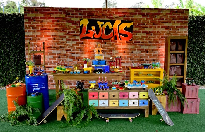 Urban Graffiti Skateboard Birthday Party on Kara's Party Ideas | KarasPartyIdeas.com (22)