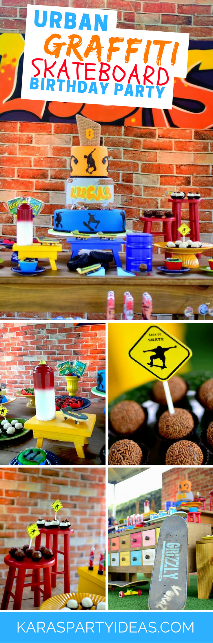Urban Graffiti Skateboard Birthday Party via Kara's Party Ideas - KarasPartyIdeas.com