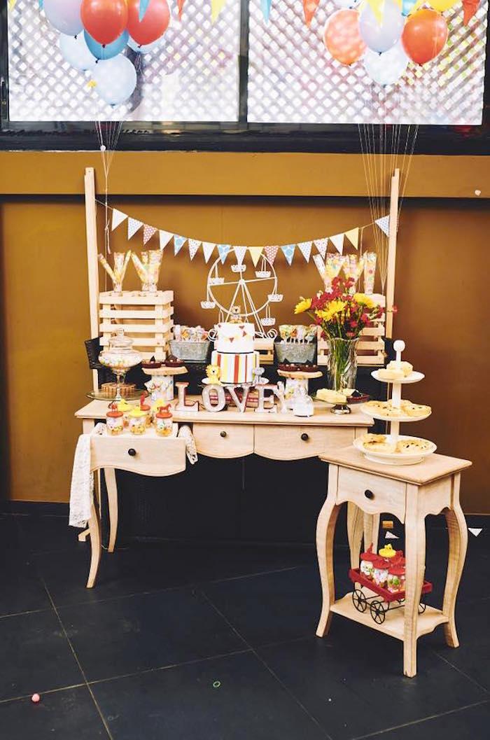Dessert table from a Vintage County Fair Birthday Party on Kara's Party Ideas | KarasPartyIdeas.com