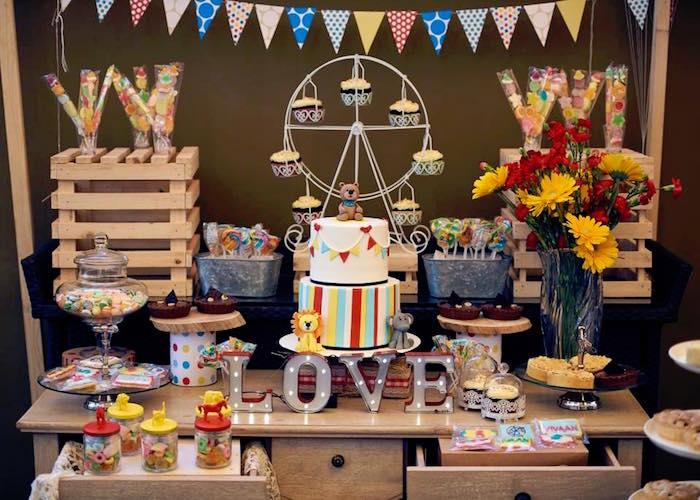 Cake table from a Vintage County Fair Birthday Party onKara's Party Ideas | KarasPartyIdeas.com