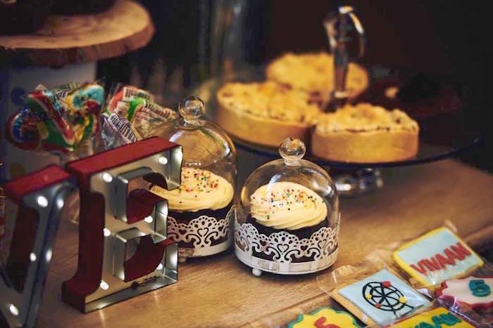 Cupcakes from a Vintage County Fair Birthday Party on Kara's Party Ideas | KarasPartyIdeas.com