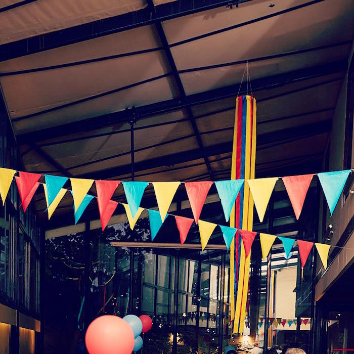 Colorful pennant banners from a Vintage County Fair Birthday Party on Kara's Party Ideas | KarasPartyIdeas.com
