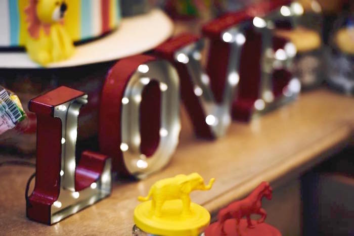 Marquee letter lights from a Vintage County Fair Birthday Party on Kara's Party Ideas | KarasPartyIdeas.com