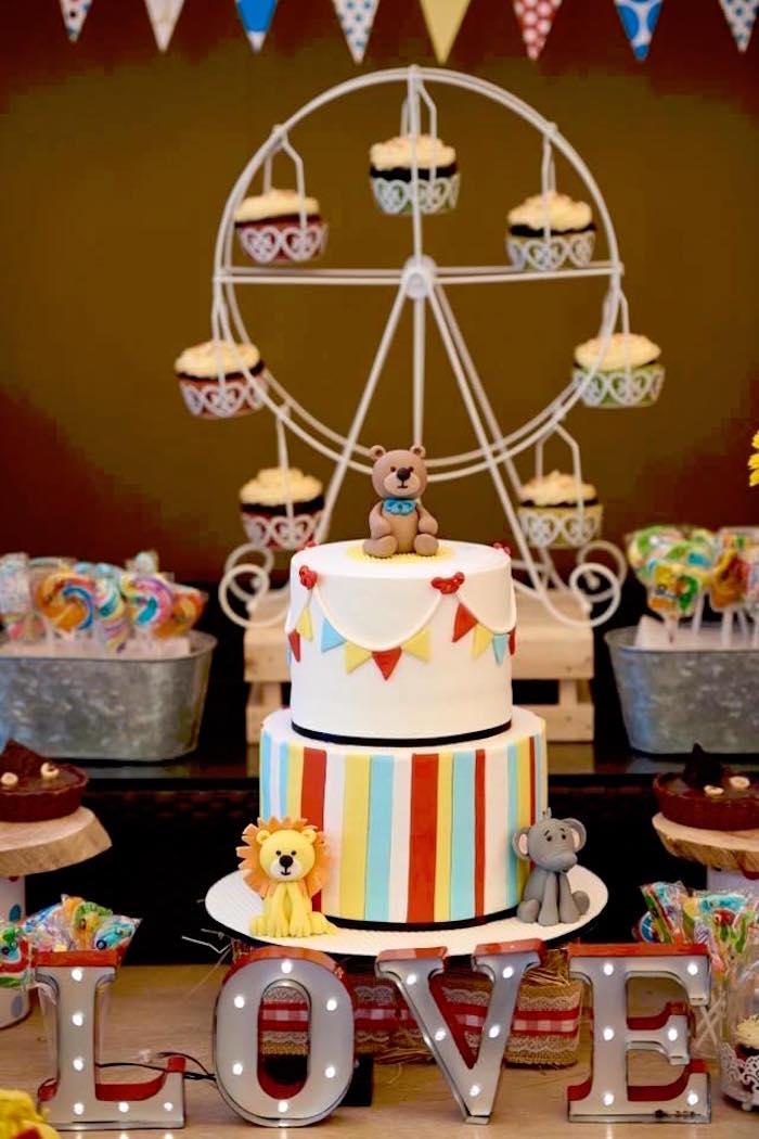 Cake from a Vintage County Fair Birthday Party on Kara's Party Ideas | KarasPartyIdeas.com