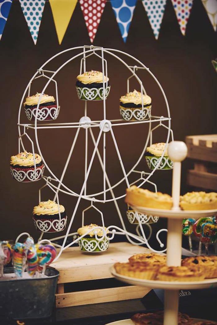 Ferris wheel cupcake stand from a Vintage County Fair Birthday Party on Kara's Party Ideas | KarasPartyIdeas.com