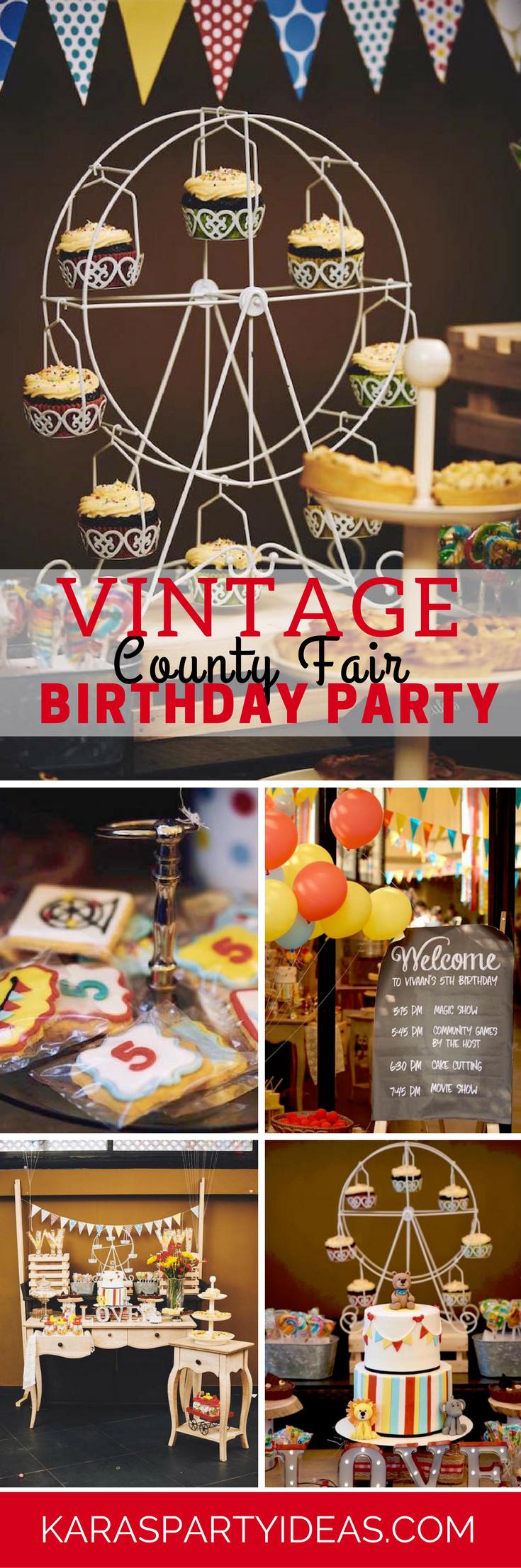 Vintage County Fair Birthday Party via Kara's Party Ideas - KarasPartyIdeas.com