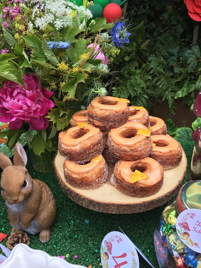Maple doughnuts from a Woodland Fairy Birthday Party on Kara's Party Ideas | KarasPartyIdeas.com (10)