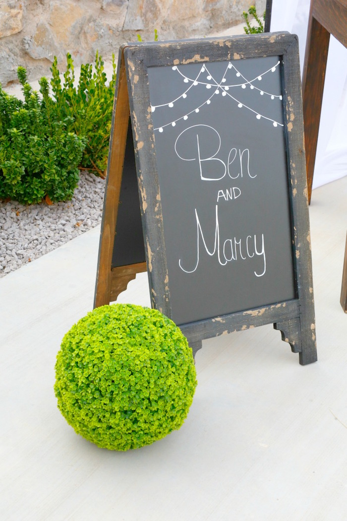 "Banquet sign from an ""I do"" BBQ Engagement Party on Kara's Party Ideas 