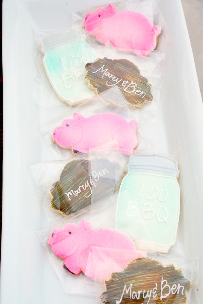 "Cookies from an ""I do"" BBQ Engagement Party on Kara's Party Ideas 