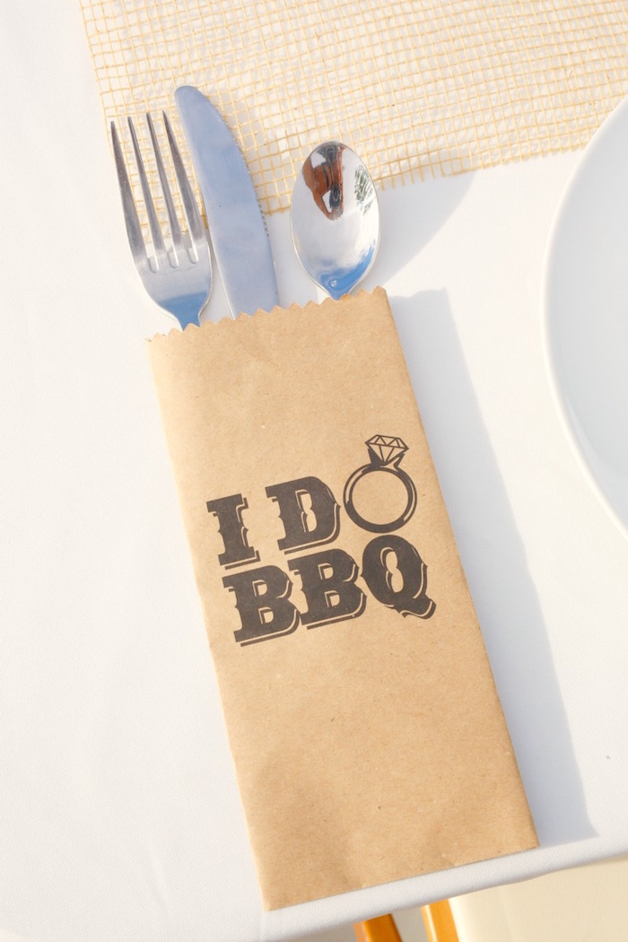 """Cutlery from an """"I do"""" BBQ Engagement Party on Kara's Party Ideas 